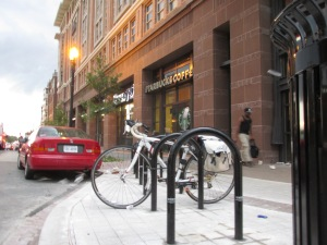 Some of the new bike racks in front of the Safeway.