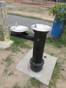 One of the two new water fountains at the Bruce Monroe Park.
