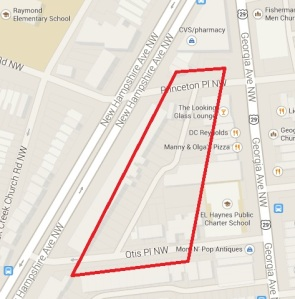 Map showing location of alley being renovated.