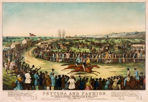 Print showing 1845 horse race at Union Course.