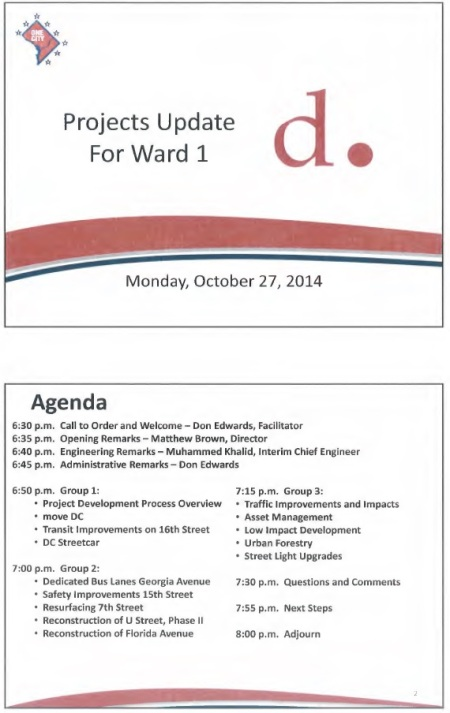 DDOT 2014 Ward 1 Updates