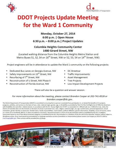 DDOT Ward 1 meeting