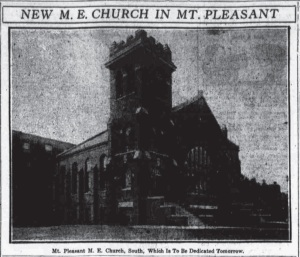 The Mt. Pleasant M.E. Church as it appeared in 1916.