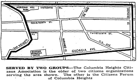Columbia Heights Citizens Association boundaries