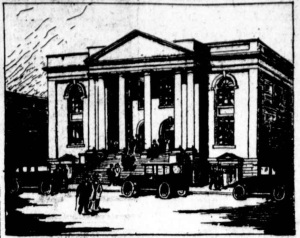 Drawing of the Columbia Heights Christian Church ca. 1920.