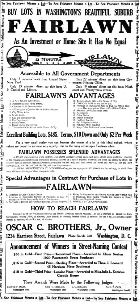 Fairlawn advertisement 1911