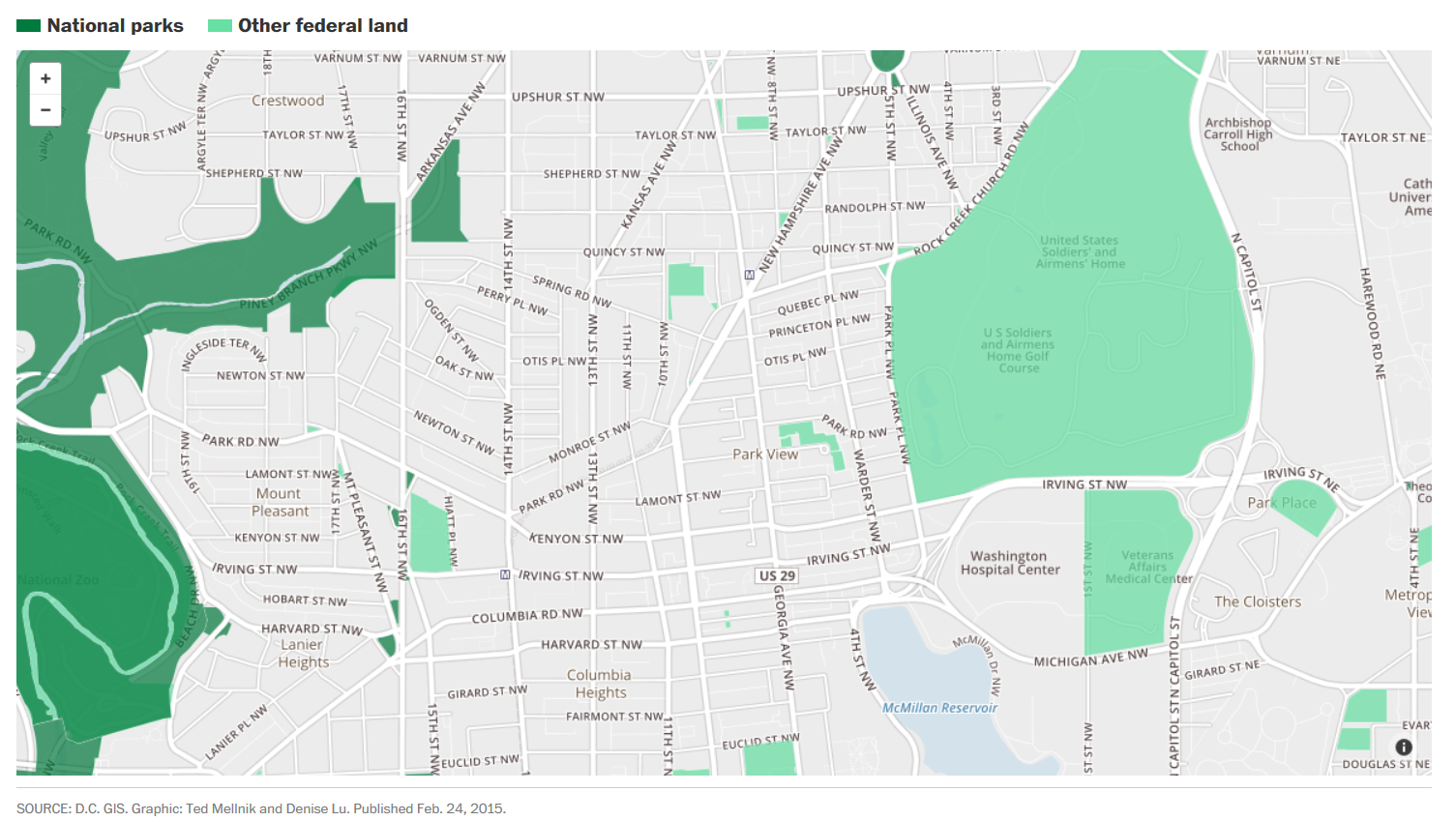 Map Showing Federal Land in D.C. | Park View, D.C. on