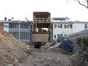 Rear of house under construction on Quincy Street, NW.
