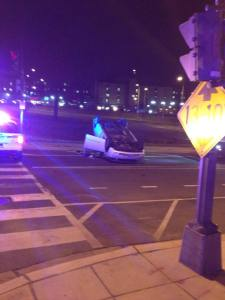 March 24th accident at Park Place and Irving Streets, NW. Photo by Christopher Chambers.)