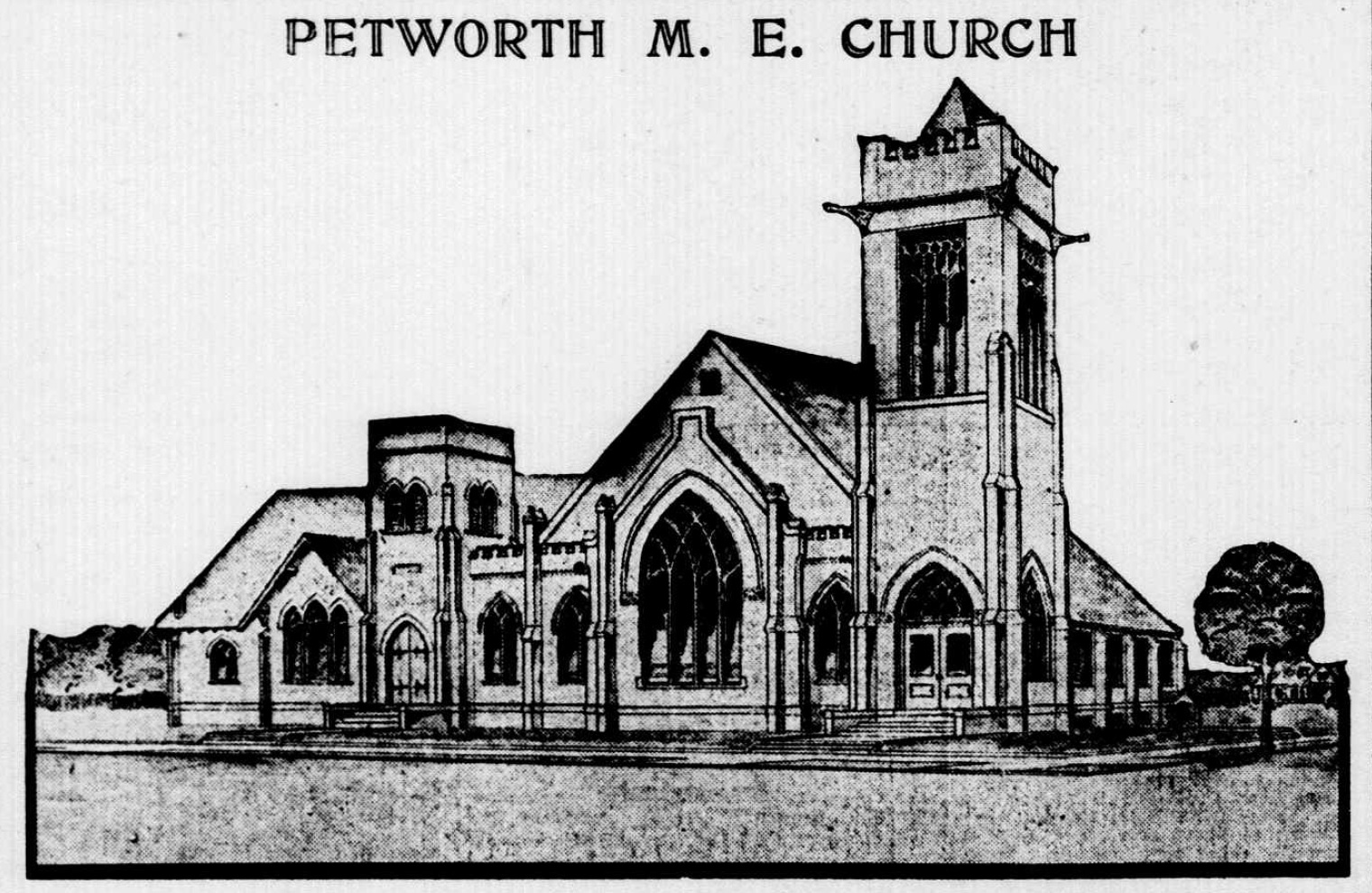 Church Auditorium Drawings 1909 Drawing of New Petworth