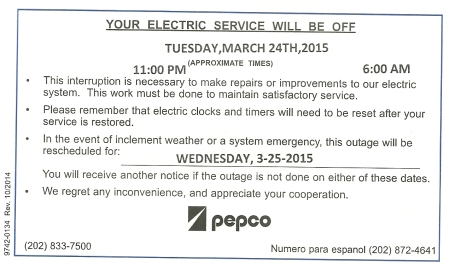 Pepco outage sign