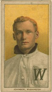 Walter Johnson on a 1909–1911 American Tobacco Company baseball card.