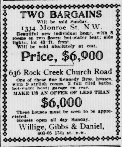 1911 real estate ad from the Evening Star identifying a garage at 636 Rock Creek Church Road, NW.