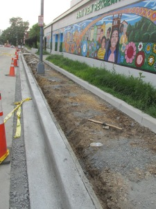 State of sidewalk work on Otis Place, evening of June 30, 2015.