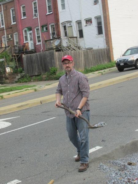 Boese cleanning bike lane