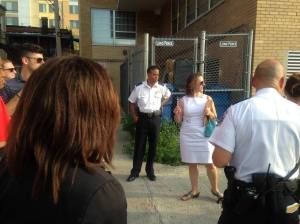 Nadeau on Lamont Street during public safety walk, July 20th.