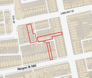 Map showing the location of the large lots currently under construction on Lamont and Warder.