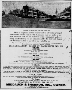 Ad for Park View subdivision, from the Evening Star, May 9, 1908.