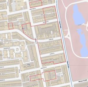 Areas in red show location of Middaugh & Shannon's Park View houses.