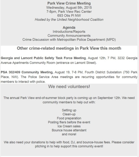 Park View Crime Meeting