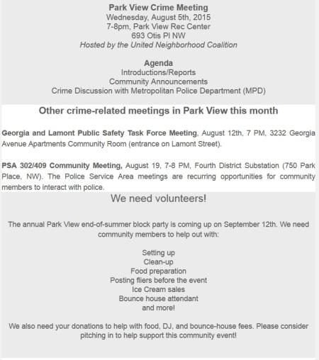 Park View Crime Meeting