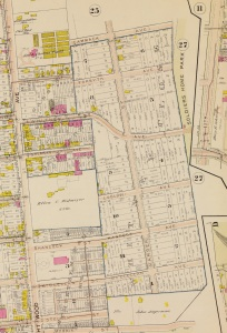 Detail from 1903 Baists Real Estate Atlas showing boundaries of Whitney Close.