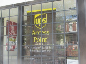 UPS Access Point Sign at Rock Creek Market.