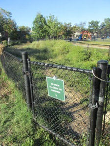The area at Bruce Monroe Park closed to dogs recently.