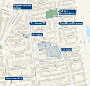 Map showing location of Park Morton and the Avenue, from New Communities Web site.