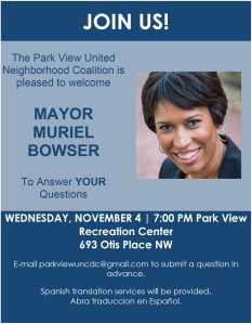 Mayor Bowser PV UNC flyer