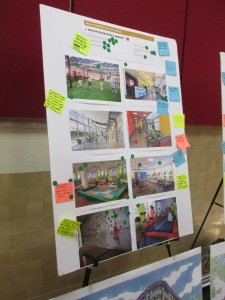 Board showing types of indoor recreational activities.