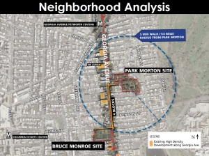 Map showing 1/4 radius from the existing Park Morton site.