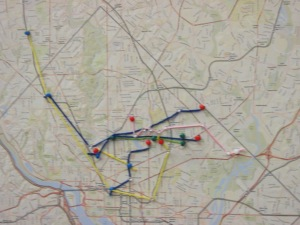 Yarn colors representing transportation in the east-west corridor.