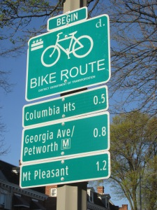 New bike route signs at the intersection of Park Place and Park Road, NW