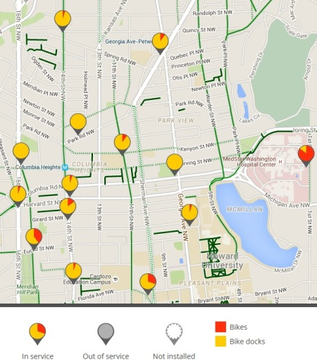 Bike share stations noon