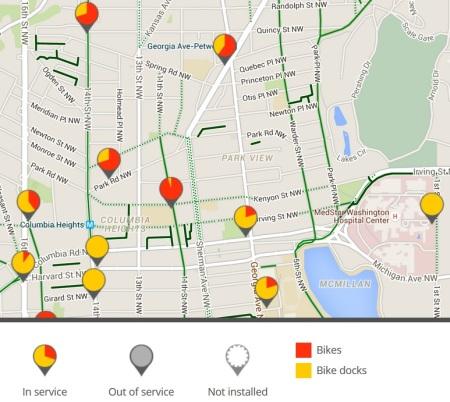 Bikeshare map at nine